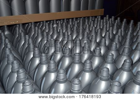 Gray plastic bottles. Photo of plastic bottles