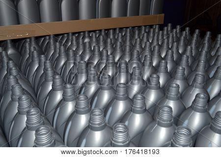 Gray plastic bottles. Photo of plastic bottles