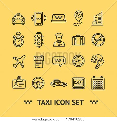Taxi Services Icon Thin Line Set on a Yellow Background for Web and App. Vector illustration