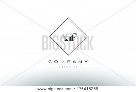 Agf A G F Retro Vintage Rhombus Simple Black White Alphabet Letter Logo