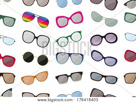 Seamless pattern with sunglasses. Colored spectacle frames. Different shapes. Vector illustration