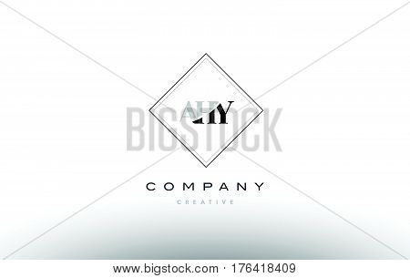 Ahy A H Y Retro Vintage Rhombus Simple Black White Alphabet Letter Logo