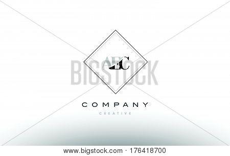 Aec A E C Retro Vintage Rhombus Simple Black White Alphabet Letter Logo