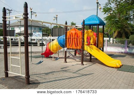 The colorful slide board in the playground