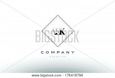 Aek A E K Retro Vintage Rhombus Simple Black White Alphabet Letter Logo