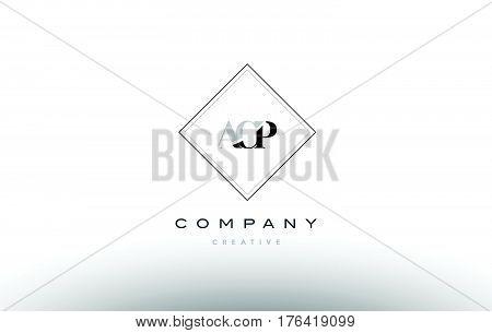 Acp A C P Retro Vintage Rhombus Simple Black White Alphabet Letter Logo