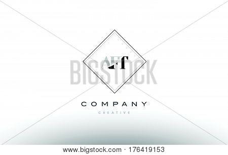 Aft A F T Retro Vintage Rhombus Simple Black White Alphabet Letter Logo