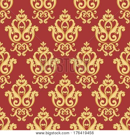 Seamless damask pattern. Gold and red texture in vintage rich royal style. Vector illustration. Can use as background for birthday card wedding invitations textile print wallpaper wrapping paper