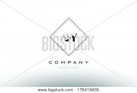 Afy A F Y Retro Vintage Rhombus Simple Black White Alphabet Letter Logo