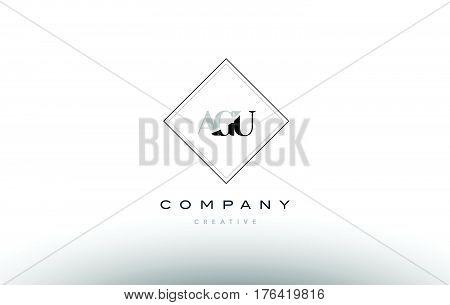 Agu A G U Retro Vintage Rhombus Simple Black White Alphabet Letter Logo