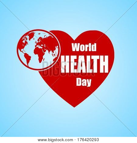 Illustration of World health day concept text design with Earth globe and heart. Vector background.