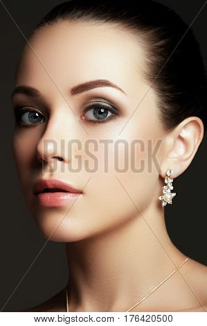 Portrait Of Beautiful Brunette Woman. Fashion Portrait