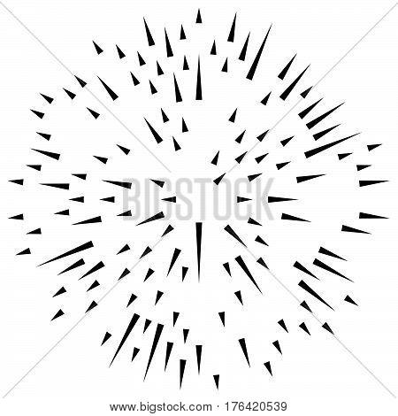 Random Radial Lines Explosion Effect. Radiating Stripes Circular Pattern