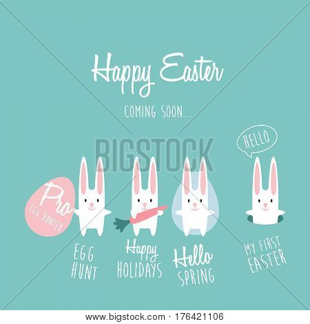 Collection of white Easter vector cartoon rabbit. Cute Easter bunny jumps out of burrow. Happy Rabbit with carrot.