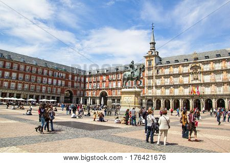 Tourists Visiting Plaza Mayor In Madrid, Spain.