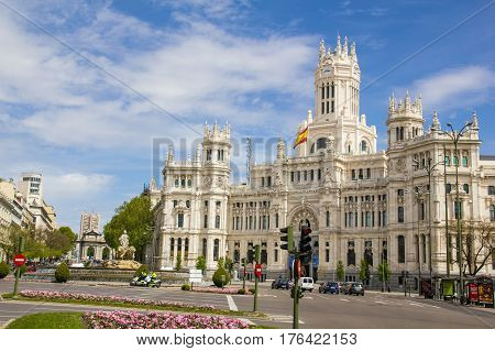 Communications Palace From Plaza De Cibeles, Madrid, Spain.