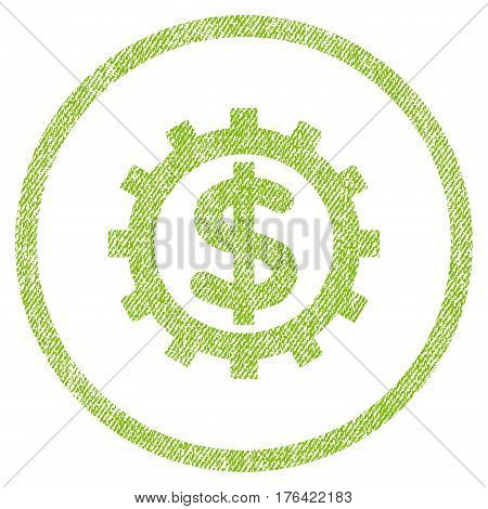 Financial Industry vector textured icon for overlay watermark stamps. Fabric light green vectorized texture. Symbol with dust design. Rubber seal stamp with fiber textile structure.