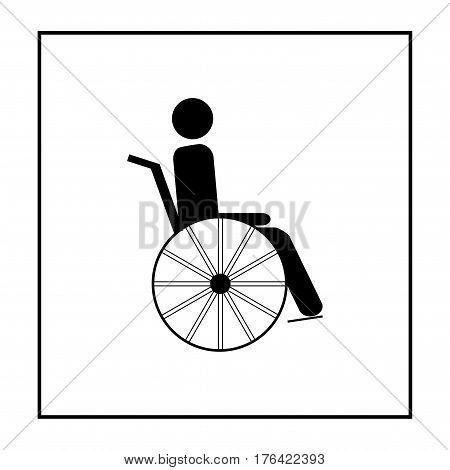 Disabled person isolated sign. Mark disability. Icon a place open passage. Symbol paralyzed and human on wheelchair. Safety person warning handicapped illustration. Design element. Vector illustration