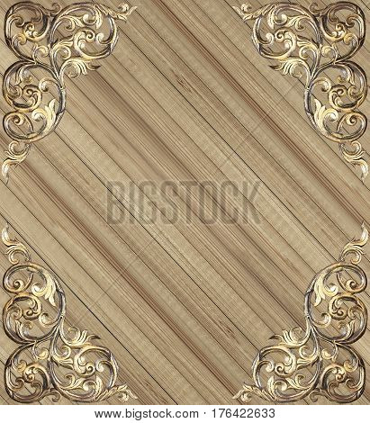 Pattern of wood carve flower on wood background