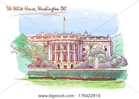 Front view of the White House and the lawn. Cityscape, urban hand drawing. Painted Sketch. Watercolor feel. Editable EPS10 vector illustration.