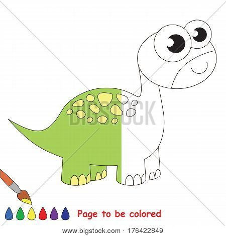 Brontosaurus Dino to be colored, the coloring book to educate preschool kids with easy kid educational gaming and primary education of simple game level.