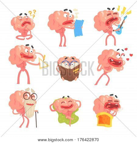 Humanized Brain Cartoon Character With Arms And Legs Funny Life Scenes And Emotions Set Of Illustrations. Thinking Human Organ Stylized Vector Illustrations With His Leisure And Recreation.