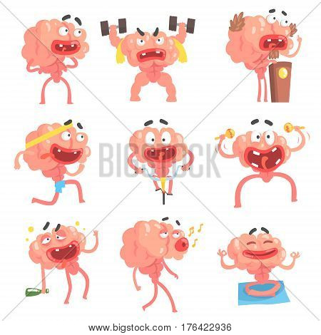 Humanized Brain Cartoon Character With Arms And Legs Funny Life Scenes And Emotions Collection Of Illustrations. Thinking Human Organ Stylized Vector Illustrations With His Leisure And Recreation.