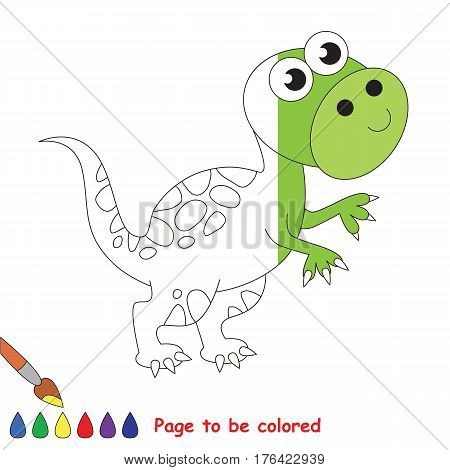 Tirannosaurus dinosaur to be colored, the coloring book to educate preschool kids with easy kid educational gaming and primary education of simple game level.