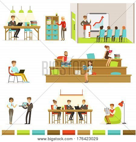 Coworking Workplace, Freelancers Sharing Space And Ideas In Office Where They Work Together Set Of Illustrations. Office Workers And Freelance Employees Together In Modern Co-Working Space.