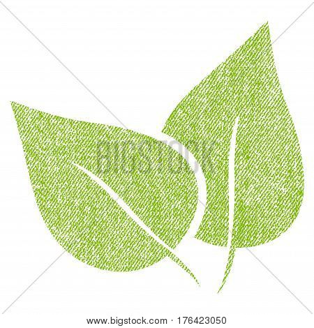 Flora Plant vector textured icon for overlay watermark stamps. Fabric light green vectorized texture. Symbol with dirty design. Rubber seal stamp with fiber textile structure.