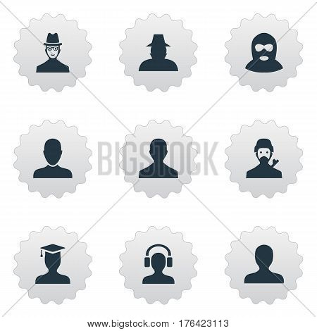 Vector Illustration Set Of Simple Human Icons. Elements Job Man, Male User, Postgraduate And Other Synonyms Headphone, Avatar And Hat.