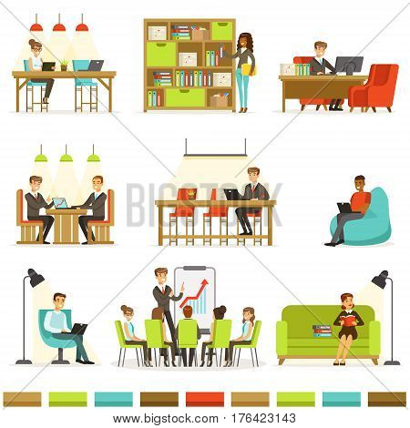 Coworking Workplace, Freelancers Sharing Space And Ideas In Office Where They Work Together Collection Of Illustrations. Office Workers And Freelance Employees Together In Modern Co-Working Space.