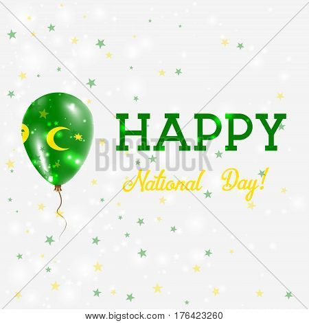 Cocos Islands National Day Patriotic Poster. Flying Rubber Balloon In Colors Of The Cocos Islander F