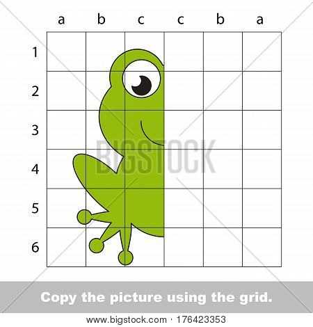 Vector kid educational game with easy game level for preschool kids education, finish the simmetry picture using grid sells, the funny drawing kid school. Drawing tutorial for half Green Frog.