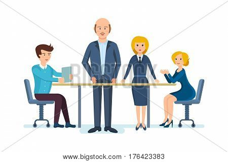 Business people working office. Colleagues, led by company's manager and his deputy, are discussing at a table in the meeting room, working, technical, technological, human and financial questions.