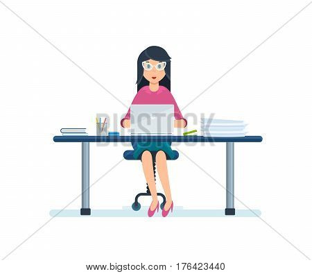 Business people working office concept. An employee of the organization in strict working clothes, sitting in his office working at a laptop. Vector illustration isolated on white background.