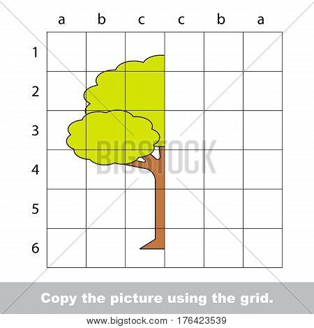 Vector kid educational game with easy game level for preschool kids education, finish the simmetry picture using grid sells, the funny drawing kid school. Drawing tutorial for half Tree.