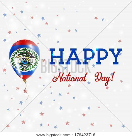 Belize National Day Patriotic Poster. Flying Rubber Balloon In Colors Of The Belizean Flag. Belize N