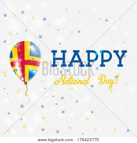 Aland National Day Patriotic Poster. Flying Rubber Balloon In Colors Of The Swedish Flag. Aland Nati