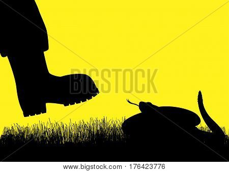 Silhouette illustration of a man with boots approaching rattlesnake