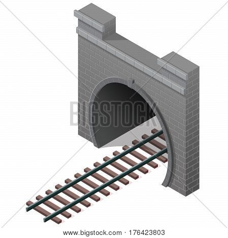 Vector railway low poly tunnel in isometric 3d perspective. Old stone circular tunnel with a light at the end. Isolated on white background. Diminishing perspective.