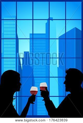 Silhouette of couple facing close to each other and holding wineglasses