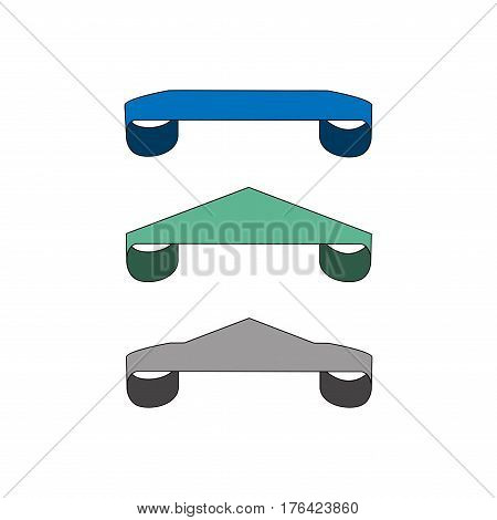 Ribbon label for food. Set blank sticker labeling. Elegant form of the logo for sale. Emblem modern symbol of quality. Colorful template for badge tag wrapping. Design element. Vector illustration