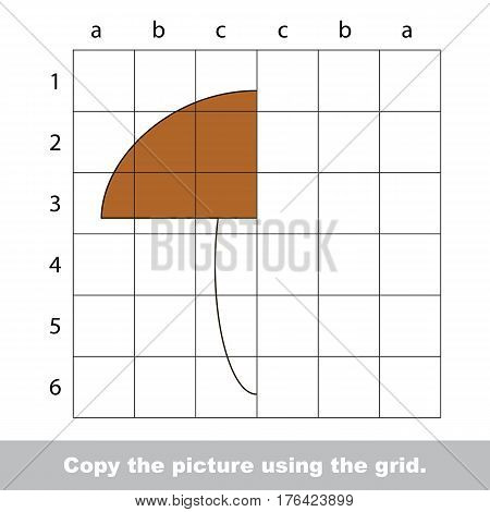 Vector kid educational game with easy game level for preschool kids education, finish the simmetry picture using grid sells, the funny drawing kid school. Drawing tutorial for half Mushroom.