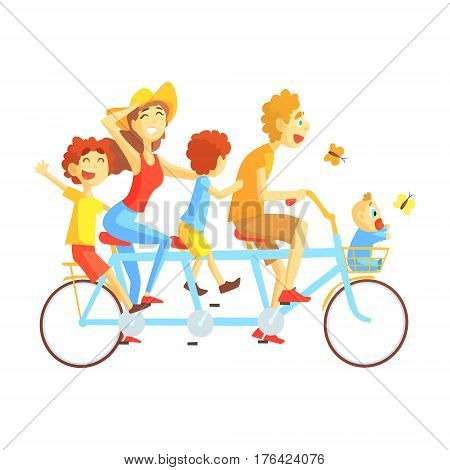 Parents And Kids On Triple Seat Bicycle Riding Outdoors In Summer, Happy Loving Families With Kids Spending Weekend Together Vector Illustration. Smiling Characters Having Fun With Their Children Cool Sunny Summer Drawing.