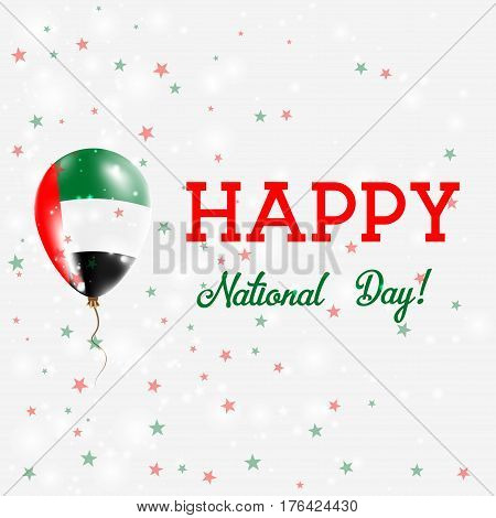 Uae National Day Patriotic Poster. Flying Rubber Balloon In Colors Of The Emirian Flag. Uae National