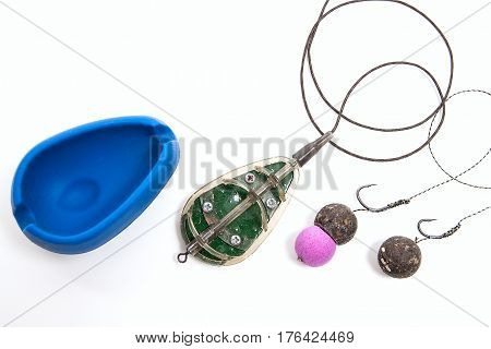 Ready For Use Carp Bait With Fishing Flat Feeder For Carp Fishing Isolated On White Background.