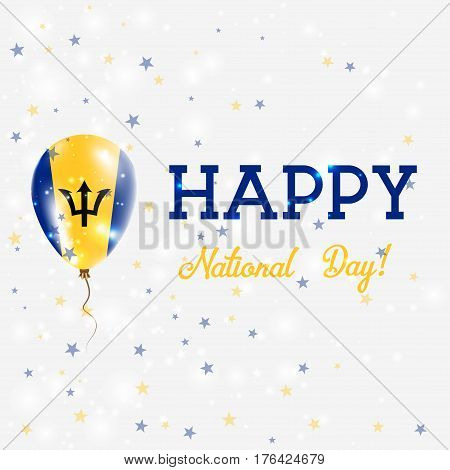 Barbados National Day Patriotic Poster. Flying Rubber Balloon In Colors Of The Barbadian Flag. Barba