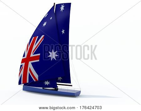 Sailboat With Sail Colored As Australian Flag
