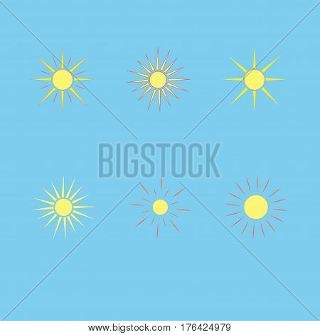 The sun set on blue background. Yellow solar mark. Bright sunny icon good mood. Isolated logo spring summer. Symbol hot warm sunlight and good weather. Flat vector image. Vector illustration.